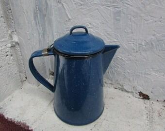 Vintage Enamelware, Blue Speckled Enamelware  Coffee / Tea Pot for Decoration