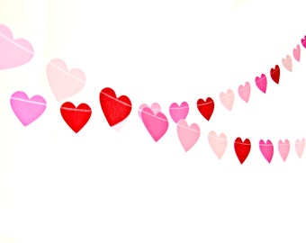 Mixed Pink & Red Glitter Heart Garland - Heart Bunting, Pink Ombre Heart Garland, Valentines Decor, Wedding decoration, Valentines Day