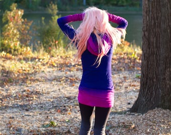 Festival Clothing Hand Dyed Ombre Fuchsia and Purple Long Hoodie Dress