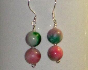 Green & Pink Jade Artisan Dangling Earrings