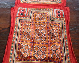 Vintage Hmong Handmade Ethnic Red Baby carrier Fabric needle Craft hilltribe Textile supplies