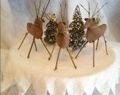 4 Reindeer Christmas Ornaments, Woodland Primitive Ornie, Self Standing, Rustic Deer Winter Decoration,Mini Tree Decoration