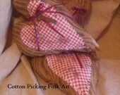 Folk Art Mini Heart Brown Chenille Upcycled Bedspread Pillow, Primitive Heart Tuck, Valentine Home Decor,Rusty Key Accent,Stuffed Prim Heart