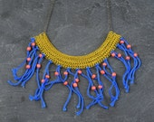 Boho Fringe Necklace, Yellow and Blue Statement Necklace, Tribal Necklace, Summer Necklace, Bohemian Jewelry