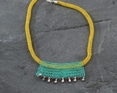 Yellow necklace, Tribal bib necklace, Beaded necklace, Jewelry trends, Wire jewelry, Bohemian necklace, Unique necklace for women