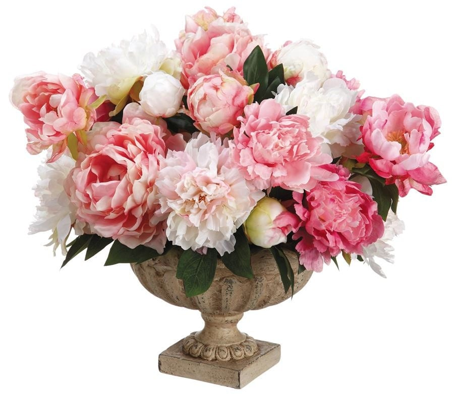 Silk off white and pink peonies arrangement centerpiece for Pink roses flower arrangements