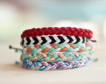 Thick Braided Bracelet - Waxed polyester - Friendship Bracelet - Custom - Choose your own color