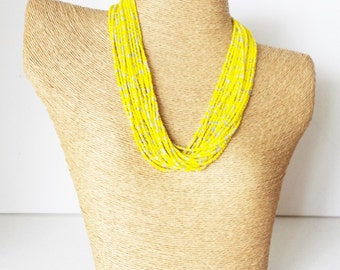 Yellow and silver necklace, statement canary necklace, bright yellow necklace, boho,seed bead necklace,beaded necklace, gray and yellow