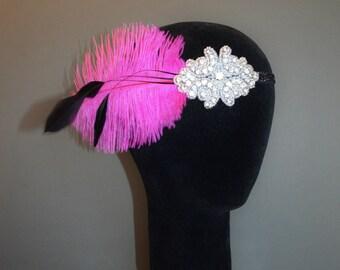 Gatsby Headpiece Flapper Headband Pink and Black Feather 1920s Fascinator Art Deco 20s Crystal Ribbon Ties