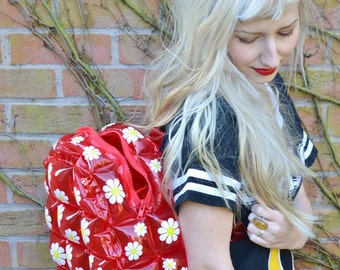 Red 90s Daisy Flower Floral Club Kid See Through Clear Plastic Blow Up Inflatable Bubble Bag Rucksack Backpack