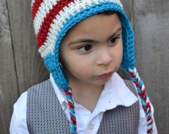 Crocheted Red, White and Teal Hat Ready to Ship