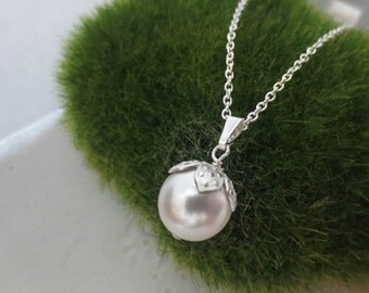 Swarovski Crystal Pearl Necklace in STERLING SILVER CHAIN--White Pearl Necklace--Perfect Gift for mom for friends, Birthday- Wedding gift