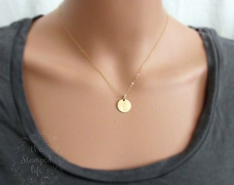 Gold Initial Necklace Gold Letter Necklace Simple Hand Stamped Necklace 14k Gold Monogram Charm Necklace Gold Filled