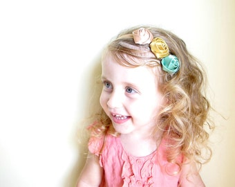 Elastic Flower Headband/ Rose Flower Headband/ Vintage Look Headband/ Satin Flower Headband/ Baby Elastic Headband