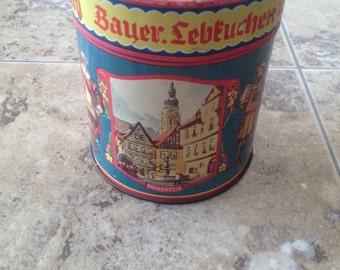 vintage German Feyler Lebkuchen cookie tin FREE SHIPPING