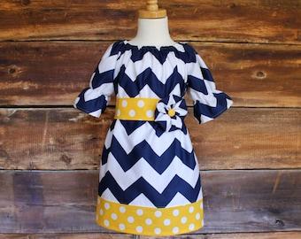 Easter Navy Chevron Peasant Dress / Yellow Polka Dot - Newborn to Child Size 11/12 girls baby infant toddler tween blue spring summer photos