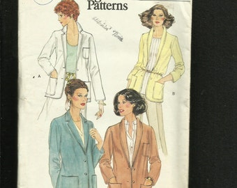 1970's Vogue 7074 Shawl & Notched Collar Blazers with Rolled Cuffs Size 12 UNCUT