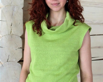 Knitted Sleeveless Linen Top with a High Collar