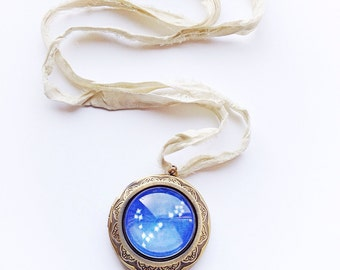 Pisces Star Constellation Astrology Locket Necklace