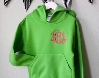 GIRLS EMBROIDERED MONOGRAM Hoodie Youth Sweatshirt Fall Fleece Custom Clothing