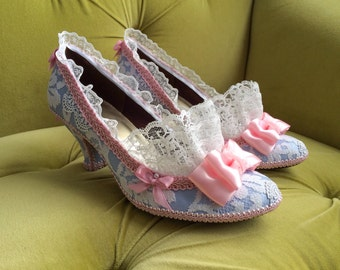 Marie Antoinette Costume Shoes Heels Rococo Baroque Fantasy Pumps Baby Blue Pink Bows and Snow White Lace Ruffle French Revolution CUSTOM