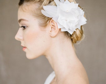 "Bridal Feather Headpiece, Hair Flower Wedding - "" Charlotte"""