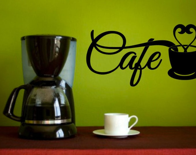 CAFE - Vinyl Decal, Kitchen Decal, Home Decor Vinyl Quote, Coffee Cafe Lovers