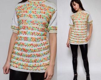Vintage 90's Beige Pon Pon Fuzzy Sweater