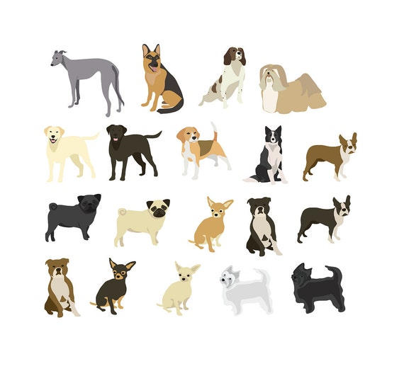 Dogs clip art: Pug Chihuahua Staffie Boston Terrier