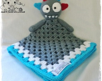 "Monster Security Blanket (Size 17.5"" by 17.5"") - PDF Crochet Pattern - Instant Download"