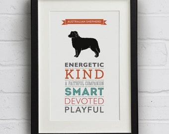 Australian Shepherd Dog Breed Traits Print - Great gift for Australian Shepherd lovers!