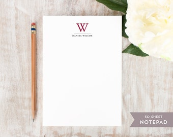 Personalized Notepad - TRADITIONAL MONOGRAM  - Stationery / Stationary Notepad