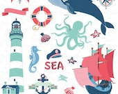 "Nautical clip art: ""NAUTICAL"" clipart, sea clipart, octopus, sailboats, lighthouse, whale, anchor, baby shower, card, Invitations, Nt003"