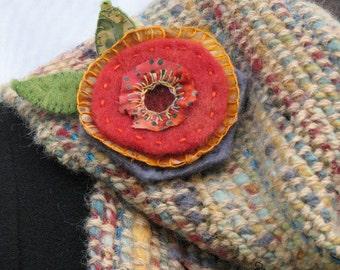 Whimsical Handmade Felt Embroidered Flower Art Pin