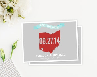 ANY State Save the Date Postcard, Banner, State Outline