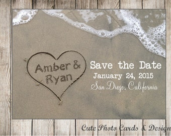 Beach save the date postcard. Printable. Save the Date for beach wedding. Printable postcard. Names in sand postcard. JPG or PDF file.