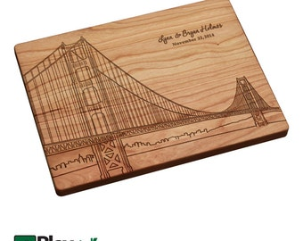 Golden Gate Bridge Skyline Personalized Engraved Cutting Board, Personalized Wedding Gifts,Custom Cutting Board,Wedding Gift,Christmas Gifts