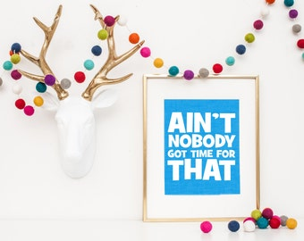 Ain't Nobody Got Time for That - Sweet Brown Quote - Funny Typography