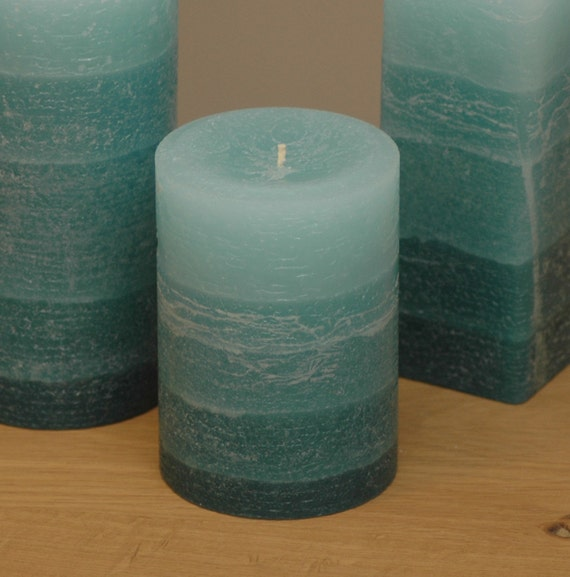 Teal Pillar Candle Rustic Striped Style 3 x 4 by NordicCandle