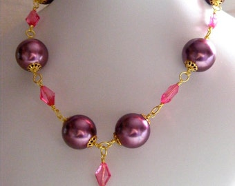 Purple Chunky Rosary Necklace