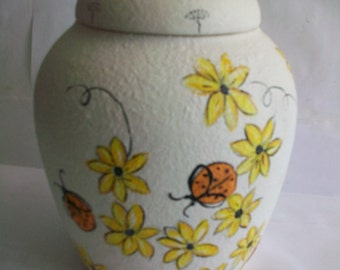Ginger jar [ signed  Bierer]  lady bugs & daisies