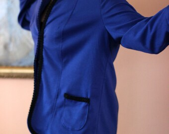 Vintage long navy blue tailor made jacket / cardigan / blazer from 80s Tailored Boyfriend