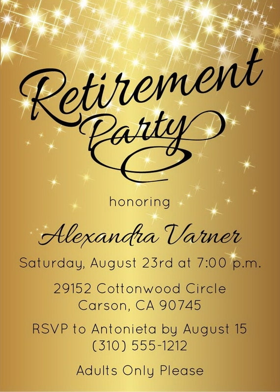 retirement party invitation gold sparkly by announceitfavors