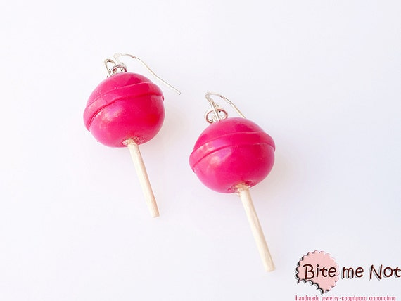 Hot Pink Lollipops Earrings, Candy Earrings, Candy Jewelry, Lollipop Jewelry, Miniature Food Earrings, Kawaii Jewelry
