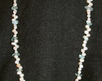 No. 29: Freshwater Pearl, Fluorite and Sea Glass Necklace