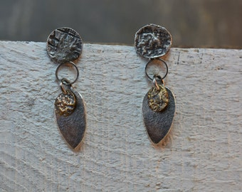 Sterling Silver Earrings with Brass accents, Reticulated, One-of-a-kind, Made in Canada,Oxidized, Mixed Metals,Organic Geometry, Unique