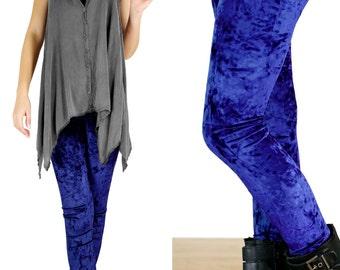 90's Sapphire Navy Blue Gray Grunge Crushed Velvet Leggings