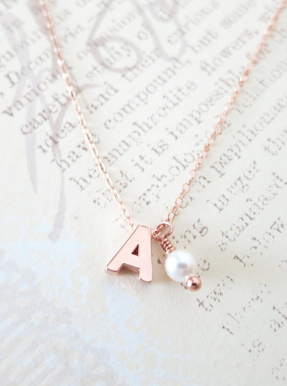 Personalised Letter and birthstone Rose Gold FILLED Necklace - monogram, friendship, personalized initial necklace, bff gift, bridesmaids