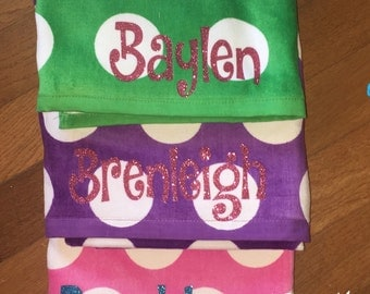 Monogrammed Beach Towel with Polka Dots, Personalized Beach Towel, Cabana Beach Towel,