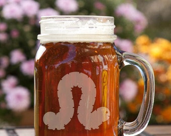 Inch Worm Customizable Etched Canning Jar Mug Glassware Gift